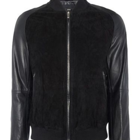 bd029d26e Hugo Boss Jackets & Coats | Mornas Lamb Leather And Goat Suede Bombe ...